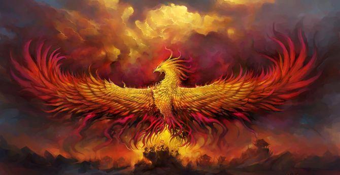Phoenix, fantasy, wings, bird wallpaper