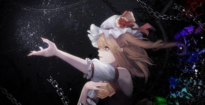 Artwork, anime girl, Flandre Scarlet, blonde and beautiful wallpaper