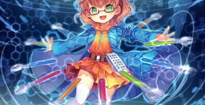 Cute, small anime girl, short hair, original wallpaper