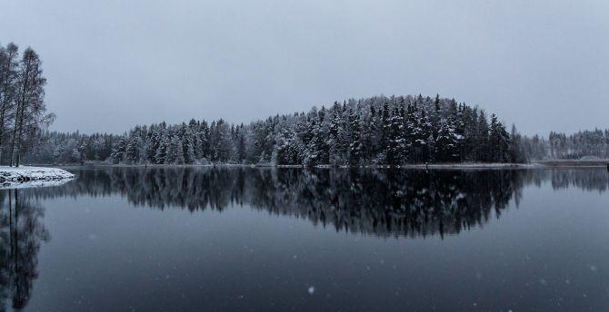 Winter lake reflections 4k