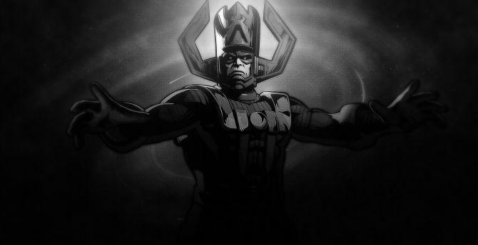 Galactus, super villain, marvel, monochrome wallpaper