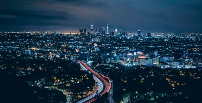 Los Angeles, city, skyscrapers, night wallpaper