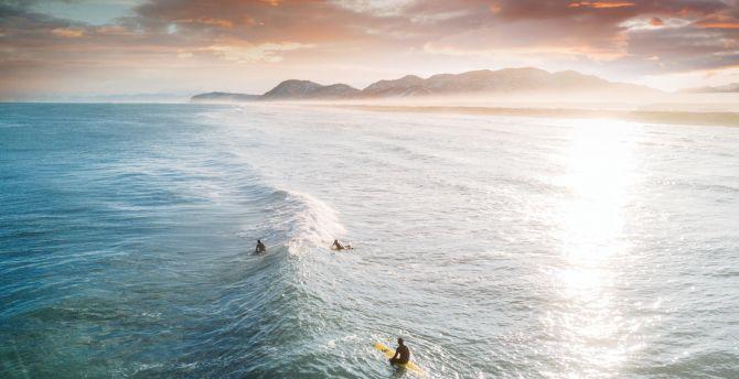 Desktop Wallpaper Tide Surfers Sea Aerial Shot Sunset