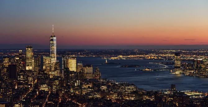 desktop wallpaper city, night, buildings, sky, new york, hd image