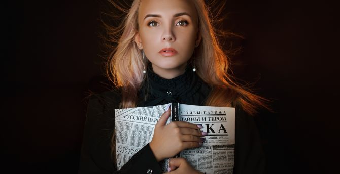 Beautiful woman with book, blonde, portrait wallpaper
