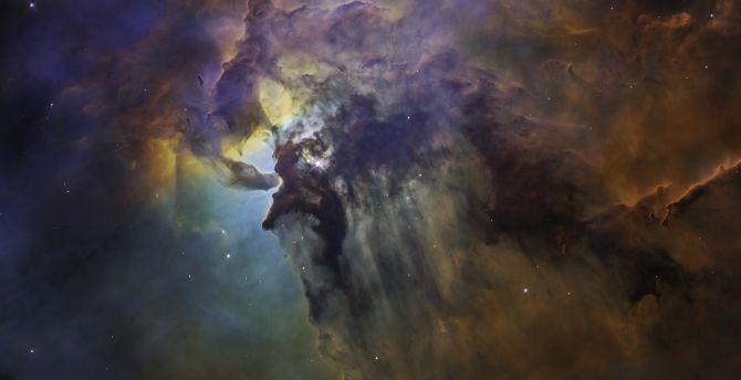 Nebula, space, dark, clouds wallpaper