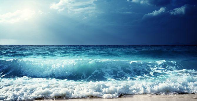 Sky sea waves horizon 5k