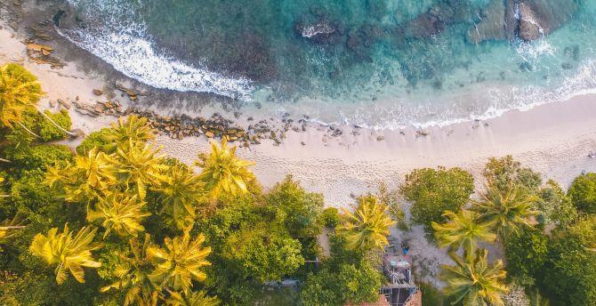 Aerial view, beach, coast, villa wallpaper