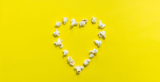 Popcorn, heart shape, yellow background, minimal wallpaper