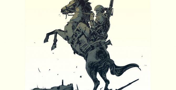 Desktop Wallpaper Art Soldier On Horse Hd Image Picture Background D80c13