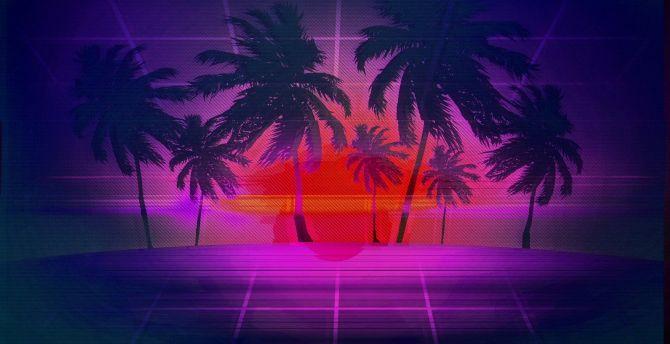 1080p Vaporwave Sunset Wallpaper