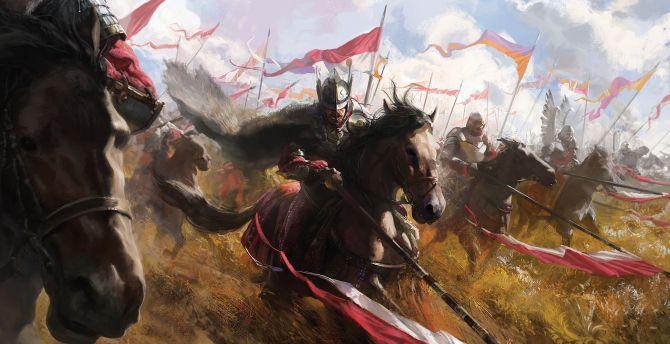 Battle, warriors, art wallpaper