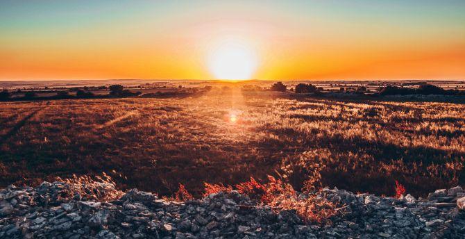 Landscape, panorama, sunset, skyline wallpaper