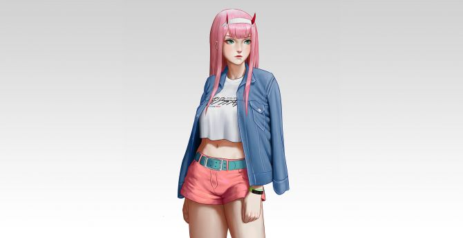 Hot, zero two, urban girl, jeans jacket, artwork wallpaper