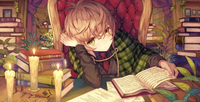 Desktop Wallpaper Reading Book Anime Girl Lazy Hd Image