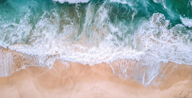 Desktop Wallpaper Aerial View Sea Waves Beach Green White