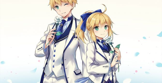 Fate/grand order, anime girl and boy, Saber, suit wallpaper