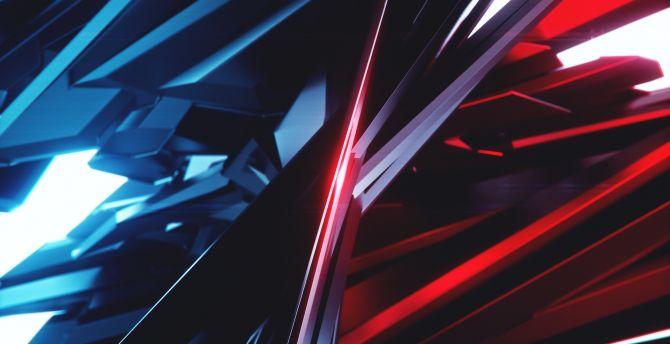 Desktop Wallpaper Blue Vs Red Pattern Dark Abstract Hd Image