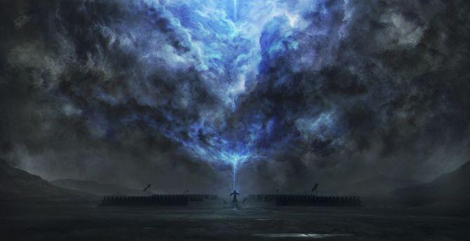 Desktop Wallpaper Dark Tower Magic Fantasy Clouds Art Hd Image Picture Background Ddaa9e