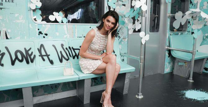 Kendall Jenner, sit, super model, on tiffany wallpaper