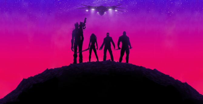 Guardians of the Galaxy, movie, neon lights, poster wallpaper