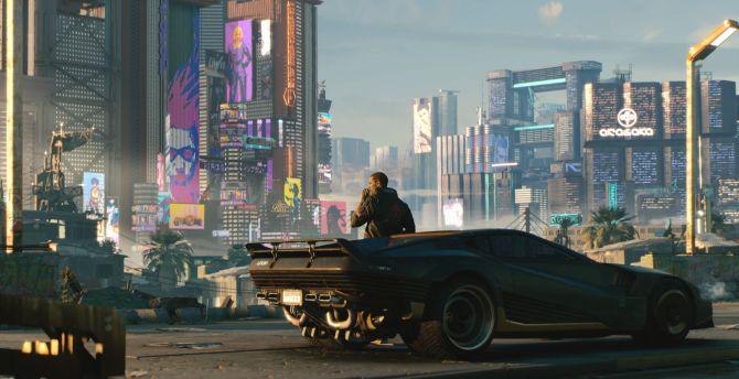 Cyberpunk 2077, man with future car, video game wallpaper