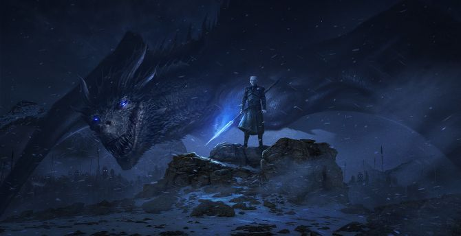 Dragon and night king, artwork, Game of Thrones wallpaper