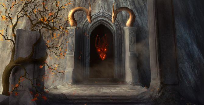 Dragon at gate, fantasy wallpaper