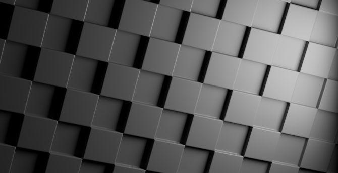 Desktop Wallpaper Cube Black Grids Texture Abstract Hd
