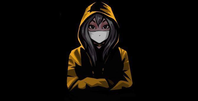Desktop wallpaper anime girl in mask, minimal, hd image, picture