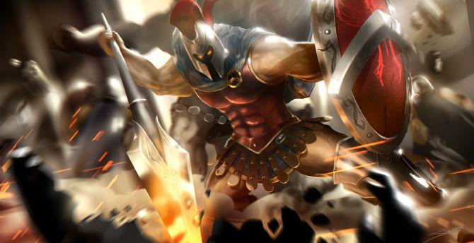 Pantheon League Of Legends Warrior Wallpaper