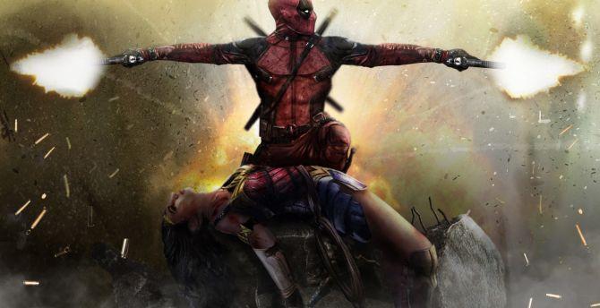 Deadpool, wonder woman, art wallpaper