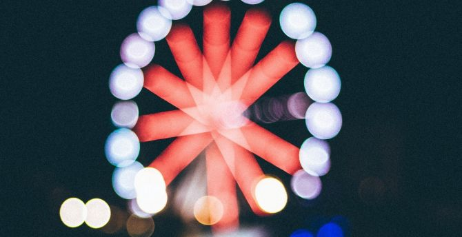 Bokeh, Ferris wheel, art wallpaper