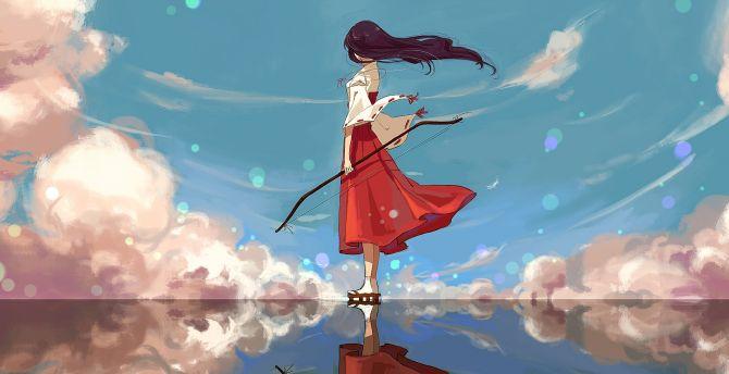 Archer, Kikyo, Inuyasha, anime girl wallpaper