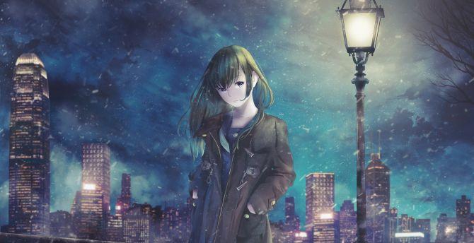 Night out, original, cute, anime girl wallpaper