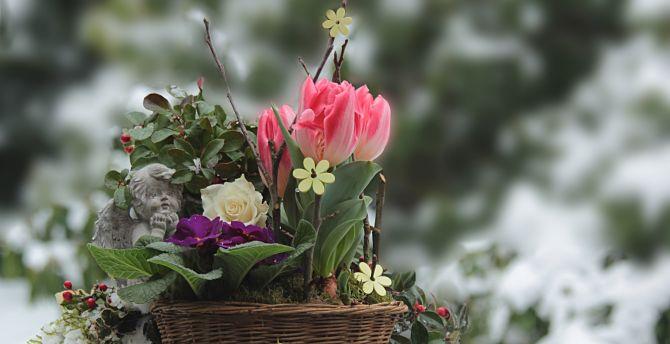 Desktop wallpaper beautiful colorful flowers basket hd image beautiful colorful flowers basket wallpaper izmirmasajfo