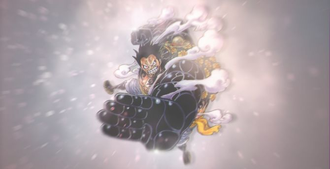 Desktop Wallpaper Monkey D Luffy Black Fist One Piece Anime Hd Image Picture Background E87d45
