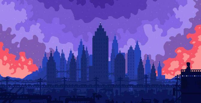 Desktop Wallpaper High Skies Buildings Silhouette Cityscape Pixel Art Hd Image Picture Background E9f357