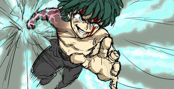 Artwork, anime boy, Izuku Midoriya, green hair wallpaper