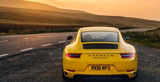 Desktop Wallpaper Yellow Car Off Road Porsche 911 Carrera T Hd Image Picture Background F01f20