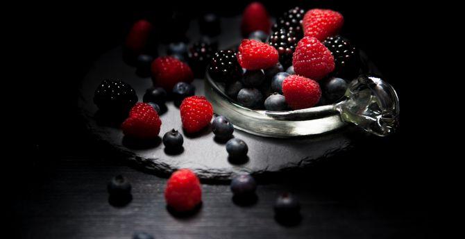 Dark mood, food, fruits, Raspberry, blueberry, Blackberry wallpaper