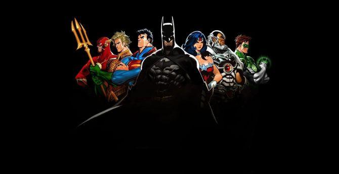 Minimal, justice league, superheroes, art wallpaper