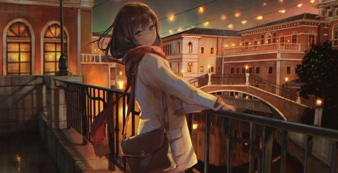 Fun at night, anime girl, original wallpaper