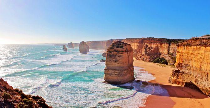 Desktop Wallpaper Australia Coast Cliffs The Twelve