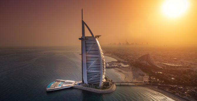 desktop wallpaper cityscape, aerial view, dubai, burj al arab, hd