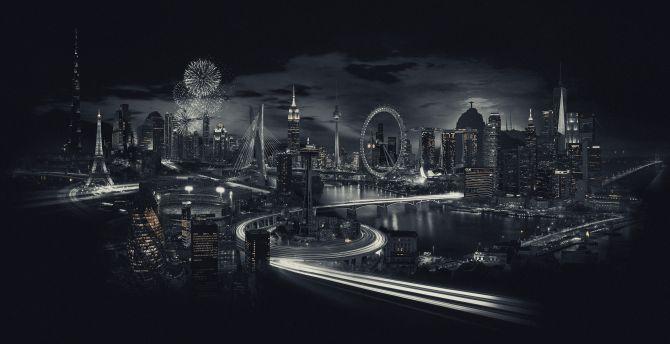 city landmarks bw city night