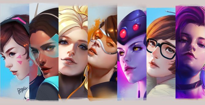 Overwatch, all girl, collage wallpaper