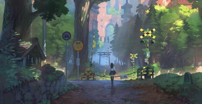 Anime girl, railway crossing, landscape wallpaper
