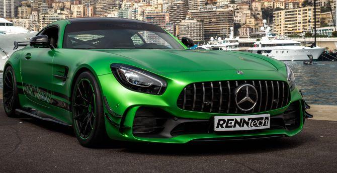 Desktop Wallpaper Renntech Mercedes Amg Gt R Front 2018 Hd Image Picture Background F4cb1a