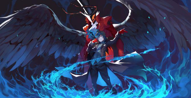 Desktop wallpaper akira kurusu, persona 5, anime, video ...